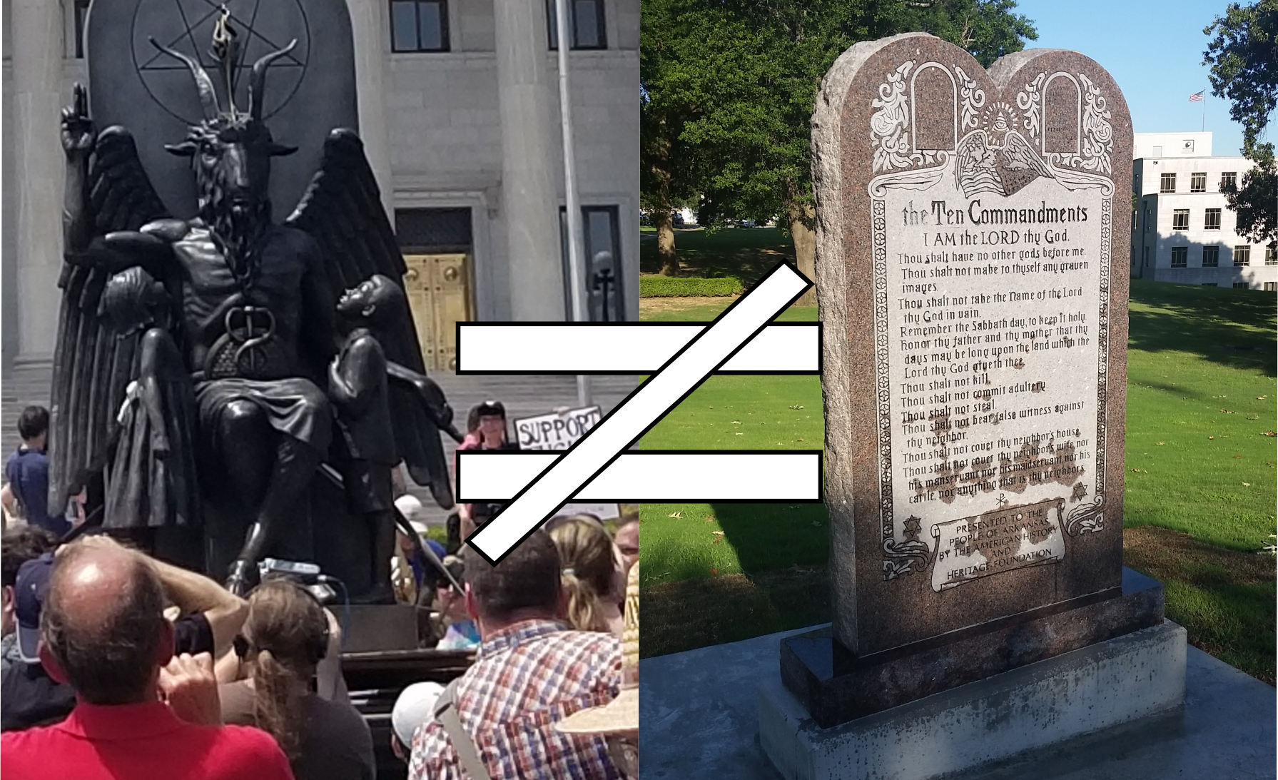 No Comparison Between Ten Commandments Monument and Baphomet Statue