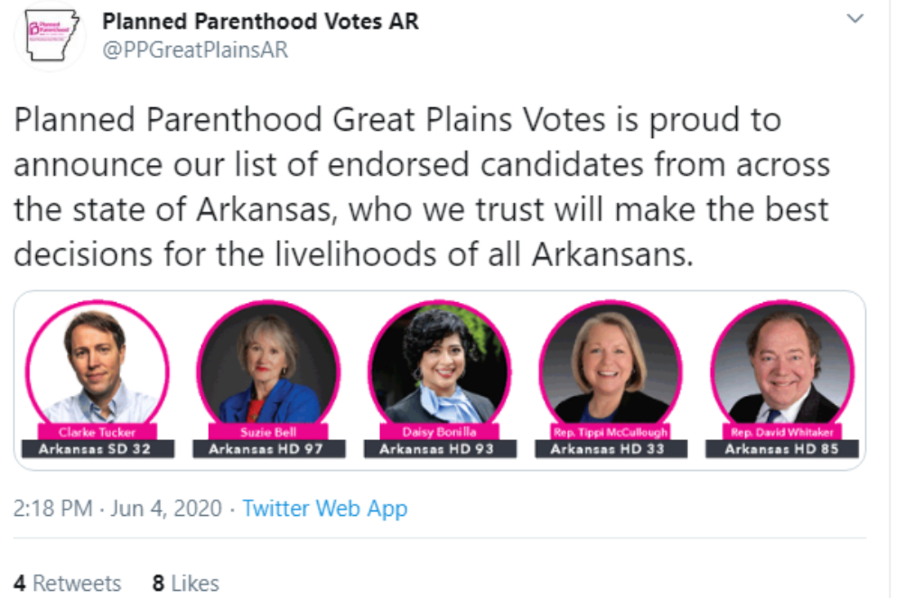 Planned Parenthood Endorses More Candidates in Arkansas